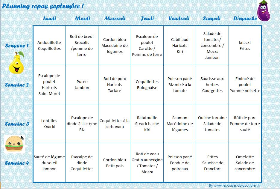 Septembre menus pour la famille et adapt s pour les petits - Planning repas semaine famille ...
