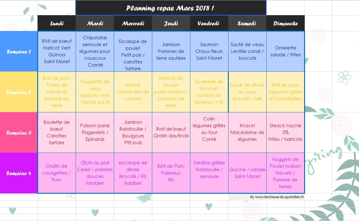 Planning de repas de mars adapt pour toute la famille - Planning repas semaine famille ...