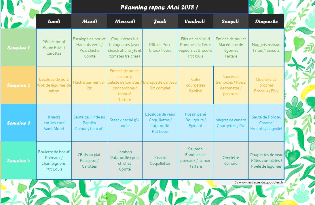 planning de repas du mois de mai adapt u00e9  u00e0 partir de 18 mois et pour toute la famille