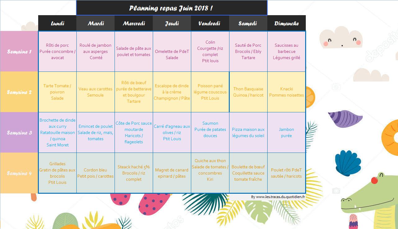 Planning de repas du mois de juillet adapt pour toute la famille - Planning repas semaine famille ...